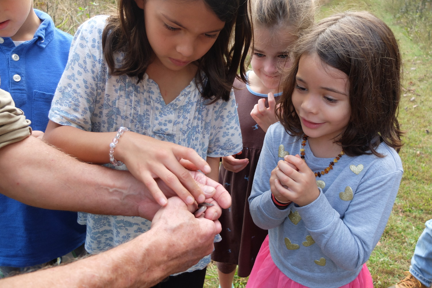 Worm snake and little girls